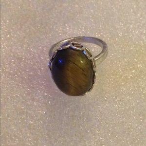 Vintage sterling tiger eye ring